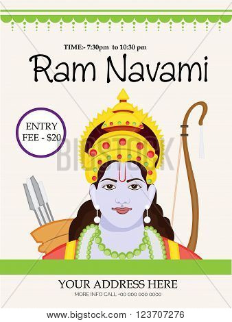 illustration of a Flyer for Ram Navami .