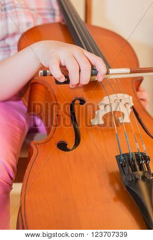Cello instrument close up view, young musician playing