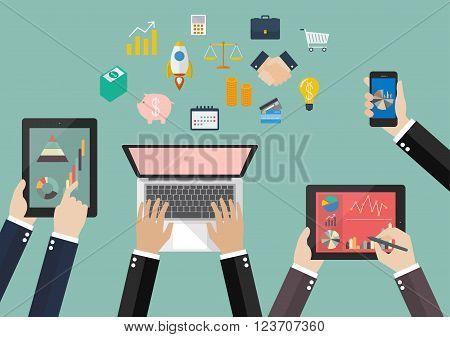 Hands hold device electronics gadget with flat icon. Business laptop phone tablet flat vector illustration