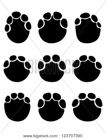 Black footprints of elephants on a white background, vector