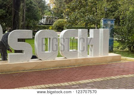 SOCHI, RUSSIA - November 06, 2015: The word capital letters from a mosaic of Sochi in park Riviera. Sochi, Russia