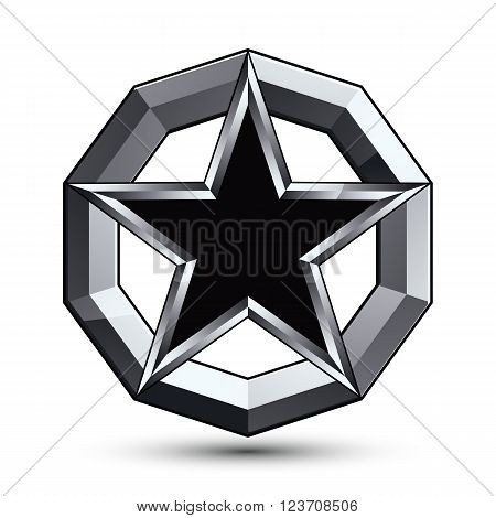 Branded silvery rounded geometric symbol stylized pentagonal black star placed in a silver ring best for use in web and graphic design. Polished vector icon isolated on white background.