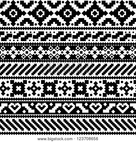 abstract ethnic aztec style seamless pattern in black and white