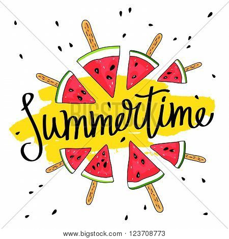 Inscription Summer surrounded by watermelon slices on a stick. Great summer gift card. Vector illustration on white background. Fashionable calligraphy. A smear of yellow ink.