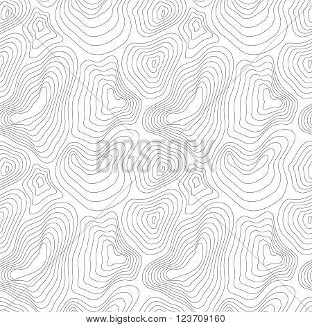 Heights map black contour on white seamless pattern
