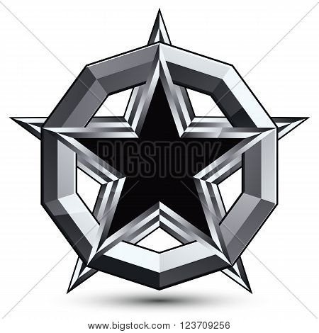 Silvery geometric symbol stylized pentagonal black star placed in a silver ring best for use in web and graphic design. Polished vector icon isolated on white background.