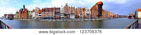 Panorama of Gdansk poland panoramic panorama old town river