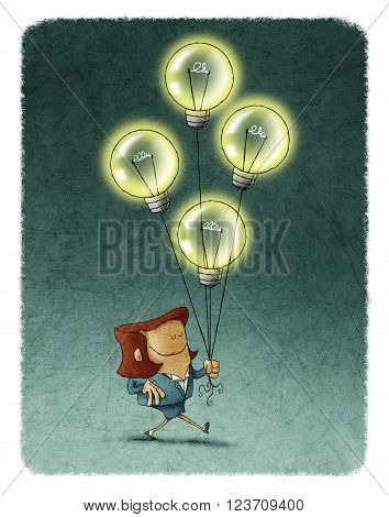 Illustration of smiling businesswoman with eyes closed walking with four flying illuminated bulbs.