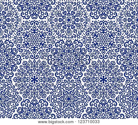 White and blue hexagon ornament from floral elements. Abstract flower motif in navy blue on white background. Vector seamless pattern from decorative elements for your design.