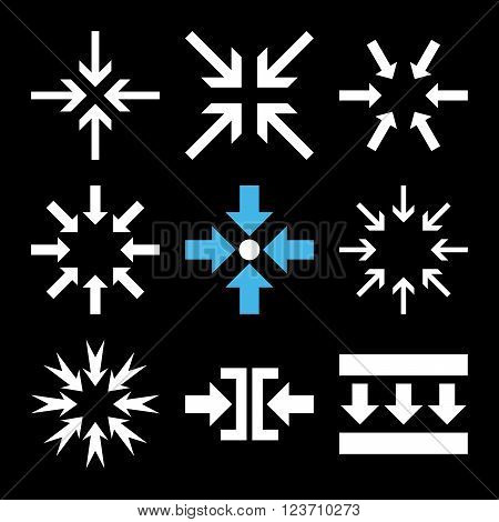 Minimize Arrows vector icon set. Collection style is bicolor blue and white flat symbols on a black background. Minimize Arrows icons.