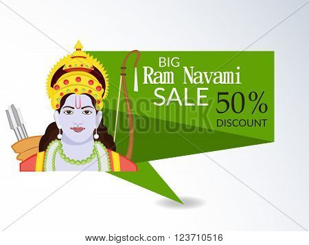 illustration of a sale banner for Ram Navami .