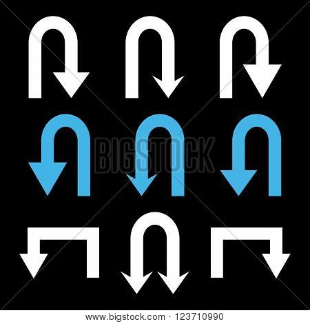 Turn Back Arrows vector icon set. Collection style is bicolor blue and white flat symbols on a black background. Turn Back Arrows icons.