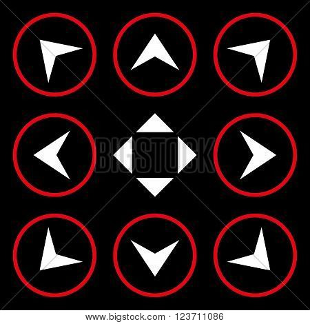 Circled Arrowheads vector icon set. Collection style is bicolor red and white flat symbols on a black background. Circled Arrowheads icons.