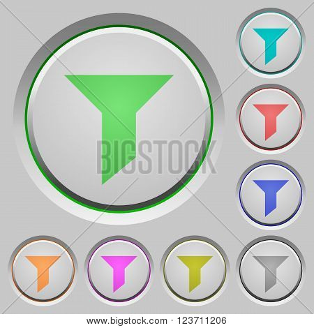 Set of color filter sunk push buttons.