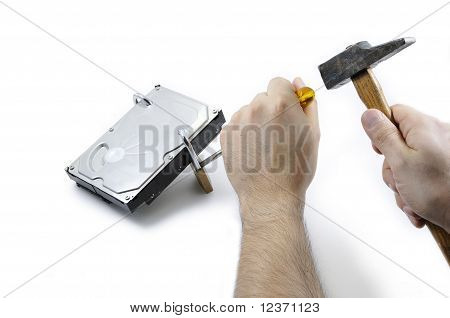 Hard disk locked under attack by two hands with tools