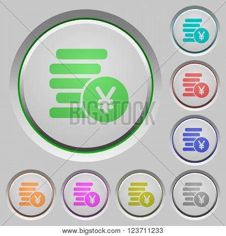 Set of color yen coins sunk push buttons.