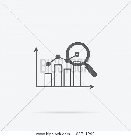 Banner with focused magnifying glass on graph on gray background icon. For web construction, mobile applications, banners, corporate brochures, layouts