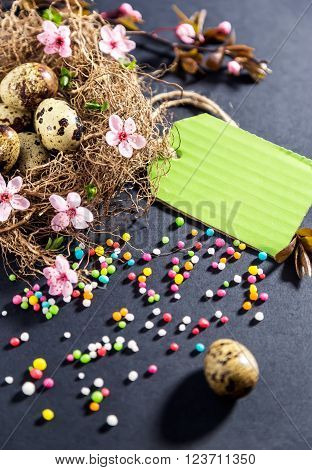 Easter decorations.Eggs in nest with spring flowers