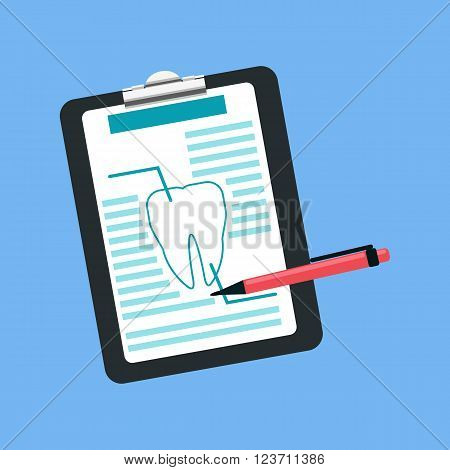 Dental tablet treatment design flat. Dental prescription, medication  document medicine, treatment medical, tablet health tooth, care stomatology, analysis and inspection vector illustration