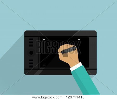 Graphics tablet device design flat. Graphic designer, graphic design tablet computer, design technology, digital tablet equipment, computer drawing vector flat illustration