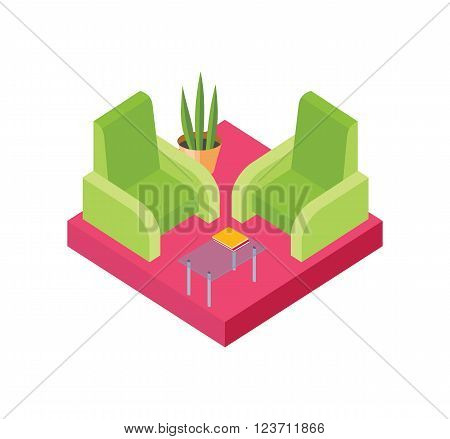 Isometric chair design isolated white. Armchair furniture and isometric furniture seat, interior comfortable, relaxation sit comfort, table and plant vector illustration