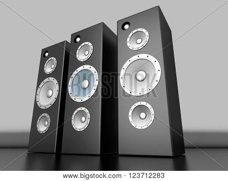 A set of Loudspeakers. 3D rendered Illustration.