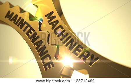 Machinery Maintenance on the Mechanism of Golden Metallic Cog Gears with Glow Effect. Machinery Maintenance - Concept. Machinery Maintenance on Mechanism of Golden Metallic Gears. 3D.