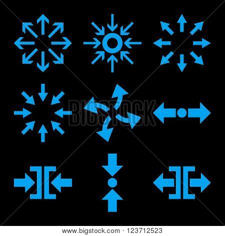 Compress and Explode Arrows vector icon set. Collection style is blue flat symbols on a black background. Compress And Explode Arrows icons.