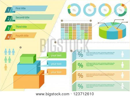 Infographic set flat design business. Graph infographic elements, chart and graphic, icons and charts and graphs, data business, information presentation infographic vector illustration