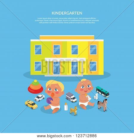 Kindergarten design flat banner. Preschool kids in kindergarten, kid education, girl and boy, child play, people preschooler, cartoon childhood vector illustration