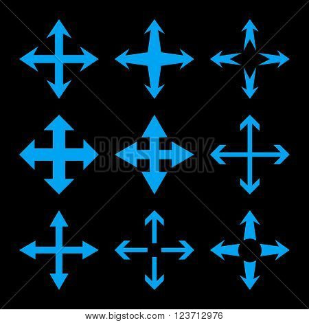 Expand Arrows vector icon set. Collection style is blue flat symbols on a black background. Expand Arrows icons.
