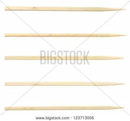 wooden toothpicks  isolated on a white background