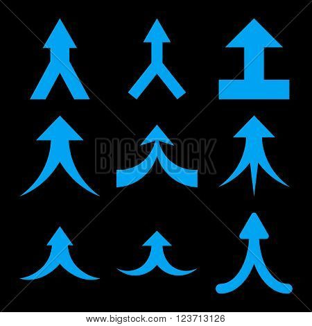 Join Arrows Up vector icon set. Collection style is blue flat symbols on a black background. Join Arrows Up icons.