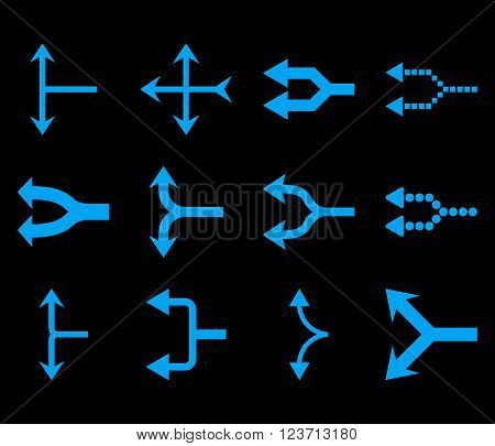 Junction Arrows Left vector icon set. Collection style is blue flat symbols on a black background. Junction Arrows Left icons.