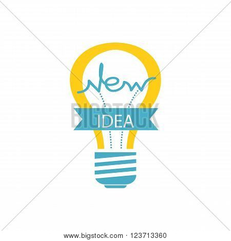 Idea concept background. Glowing yellow light bulb as inspiration concept. Light sign ideas. Vector light bulb icon. Creative idea in bulb shape. New idea logo
