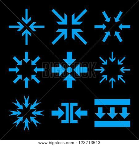 Minimize Arrows vector icon set. Collection style is blue flat symbols on a black background. Minimize Arrows icons.