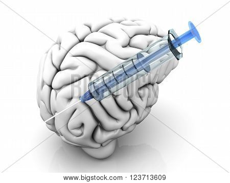 Syringes injecting substances into a human brain.