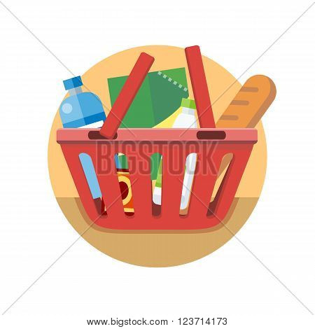 Shopping cart with food design flat. Shopping bag basket, buy icon, supermarket shop cart, basket cart, commerce purchase grocery vector illustration