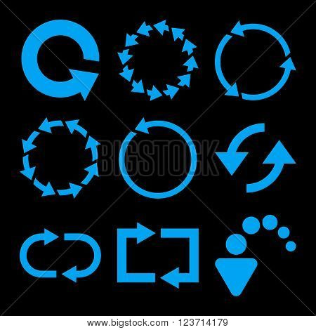 Rotate Arrows vector icon set. Collection style is blue flat symbols on a black background. Rotate Arrows icons.