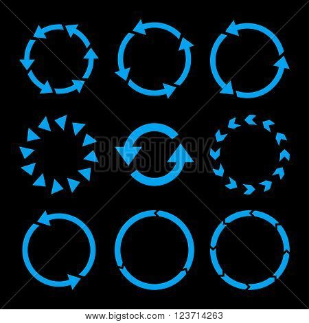 Rotation Direction vector icon set. Collection style is blue flat symbols on a black background. Rotation Direction icons.