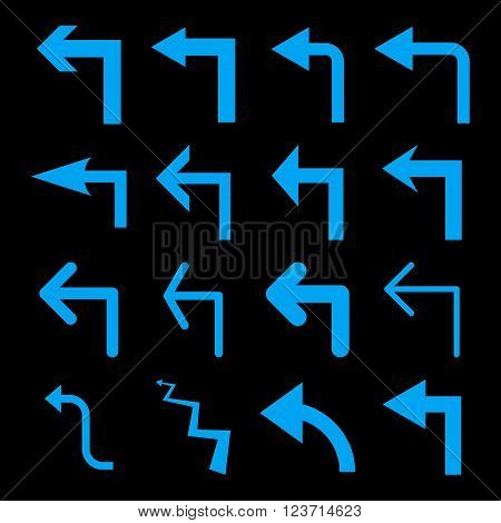 Turn Left vector icon set. Collection style is blue flat symbols on a black background. Turn Left icons.