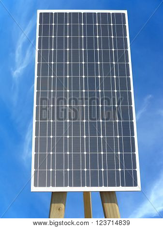 Solar panel against cloudy blue sky background
