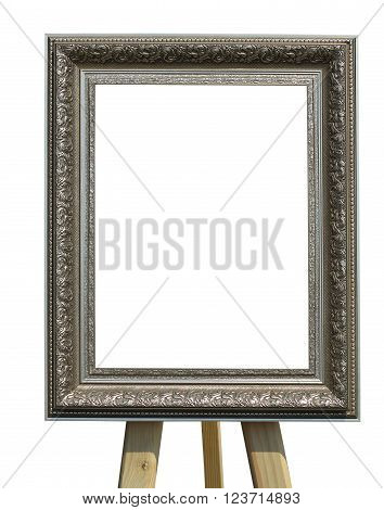 Old vintage silver picture frame on a stand isolated over white background
