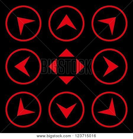 Circled Arrowheads vector icon set. Collection style is red flat symbols on a black background. Circled Arrowheads icons.