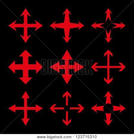 Expand Arrows vector icon set. Collection style is red flat symbols on a black background. Expand Arrows icons.