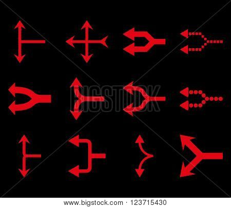 Junction Arrows Left vector icon set. Collection style is red flat symbols on a black background. Junction Arrows Left icons.