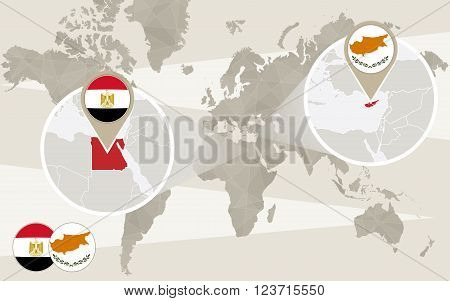 World map zoom on Egypt Cyprus. Hijack. Egypt map with flag. Cyprus map with flag. Vector Illustration.
