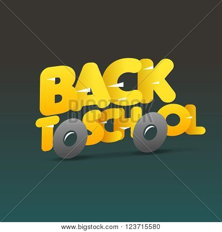 Back to school logo, school bus make from letters, vector illustration.