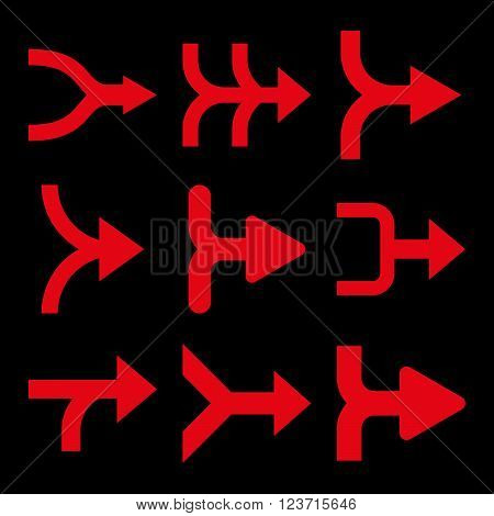 Merge Arrows Right vector icon set. Collection style is red flat symbols on a black background. Merge Arrows Right icons.