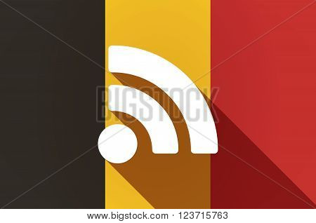 Long Shadow Belgium Flag With An Rss Sign
